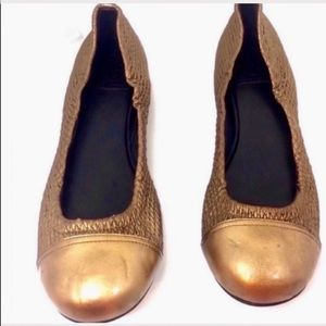 Tory Burch gold copper bronze woven ballet flats